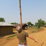 Balancing a pole for children in Liberia