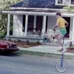 Riding a 6-foot unicycle in my hometown of Louisville