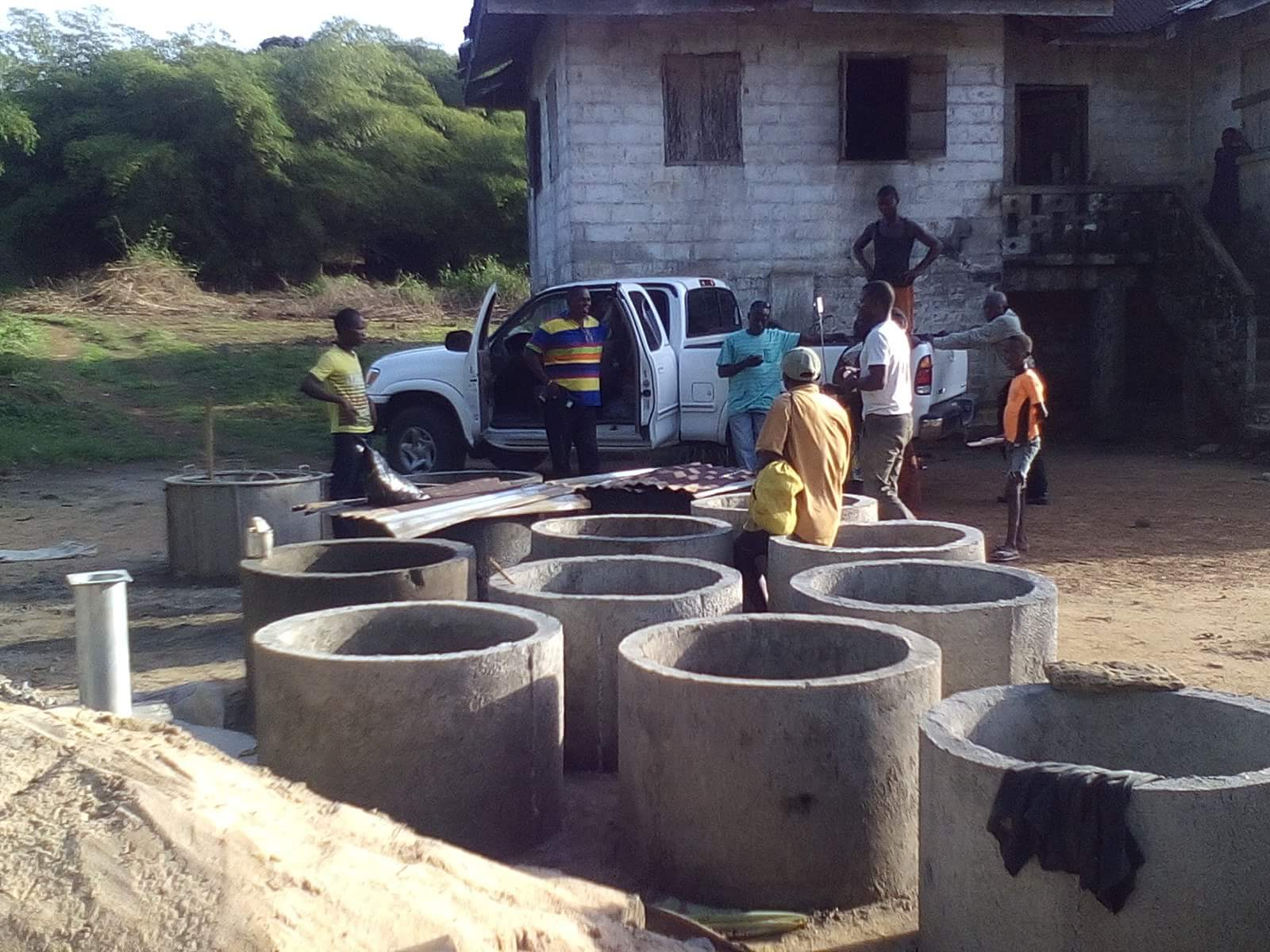 Preparing to cap a well in Owensgrove, Liberia