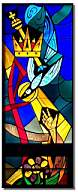The Crown and Scepter symbolize the Kingdom of Heaven; the dove the Holy Spirit; the hand reaching from the flower symbolizes humility.  The window is at Saint Vincent de Paul Catholic Church in Seward, NE.(http://www2.connectseward.org/chu/stv/index.htm)