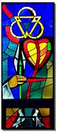 The Holy Trinity, the heart, hand and lily, represent the pure in heart. The doves represent purification. http://www2.connectseward.org/chu/stv/beatitude6.htm